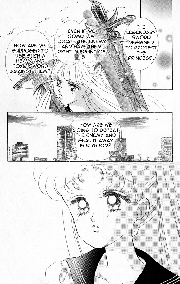 a manga panel with Minako wondering how she can use the heavy, cursed sword against their enemy