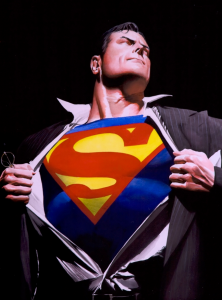 "Superman pulls at his coat and shirt to reveal his chest, displaying his costume with an ""S."""