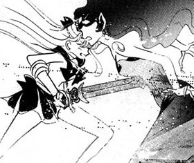 Manga Sailor Venus stabs Queen Beryl through the chest with the Holy Sword