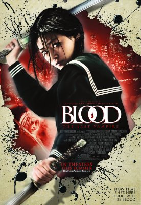 Blood the last vampire movie poster with saya dressed as a school girl