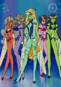 Five girls stand with wasp wings and wearing what looks to be swimsuits