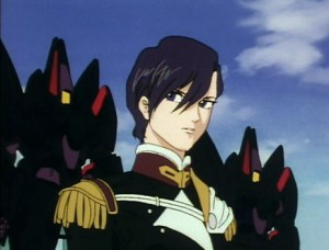 A woman with short, black hair in a soldier uniform stands in front of two black mechas.
