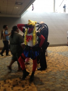 Deadpool dressed up as Sailor Moon