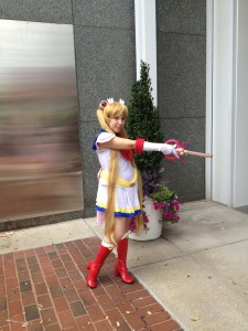 Super Sailor Moon poses with her moon kalaidoscope