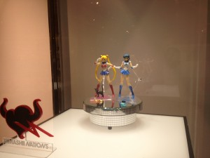 a display of the sailor moon and mercury figuarts