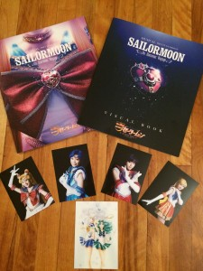 Un Nouveau Voyage Musical phamplet, visual book, photos of the inner senshi minus jupiter and the Uranus/Neptune postcard