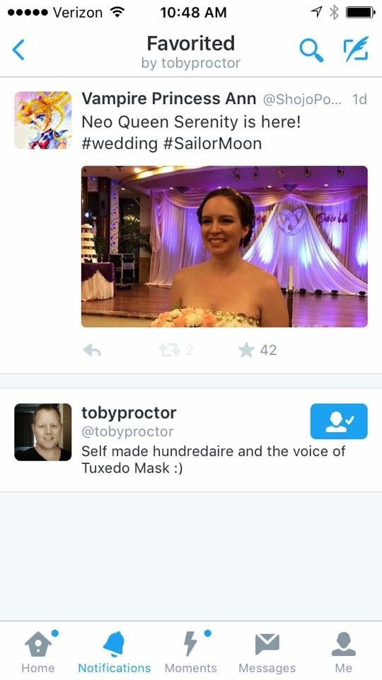 a twitter feed with Anne's Serenity bridal look and Toby Proctor favoriting it