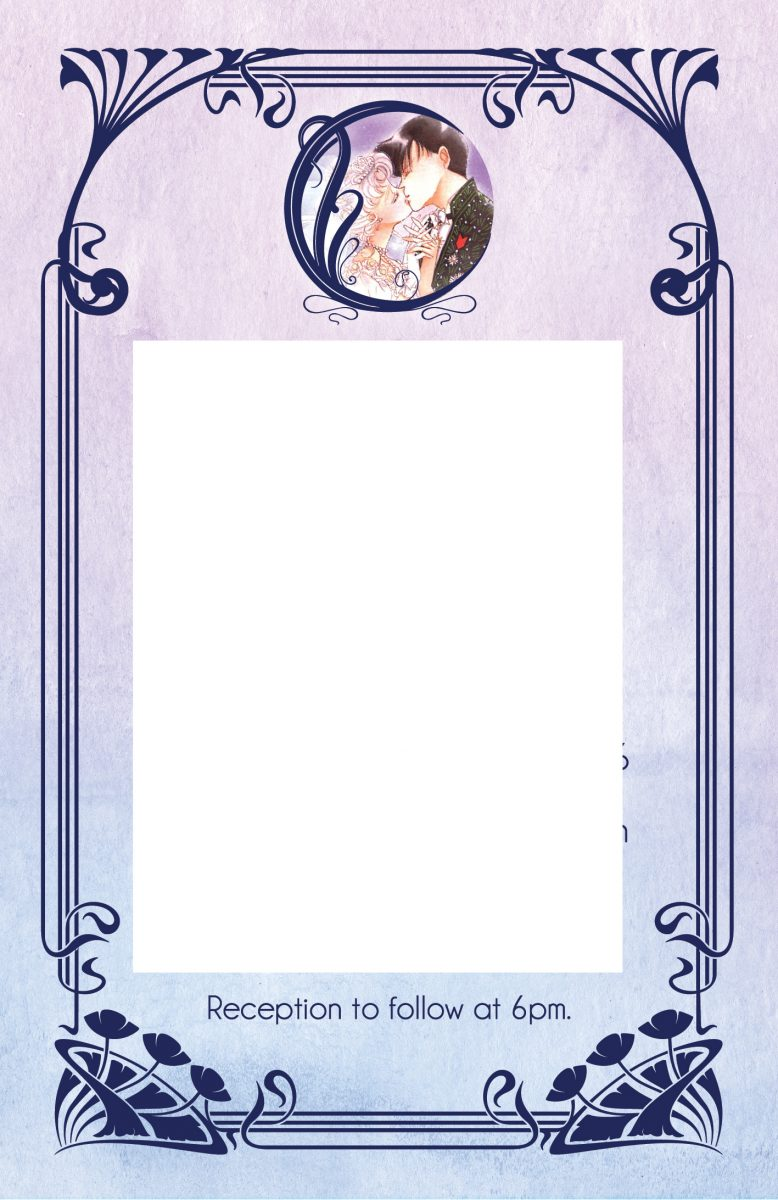 a pink and purple invitation with an art nouveau frame and usagi and mamoru in a crescent moon at the top