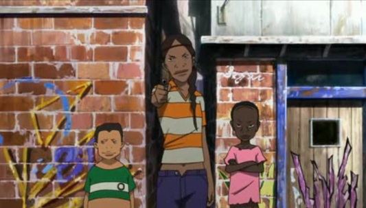 three boys stand in the street, the tallest one pointing a gun