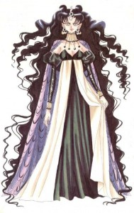 Nehelenia stands with long black hair and a black and white dress.