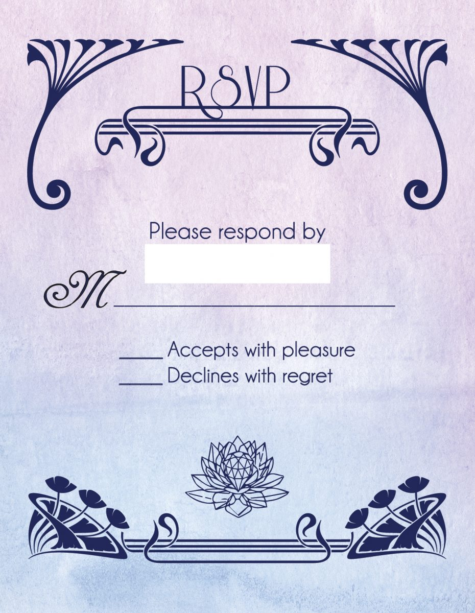 the RSVP card with a silver crystal on it