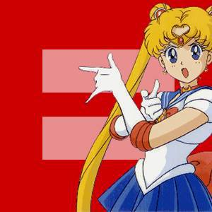 red quality logo with Sailor Moon in her I will punish you pose