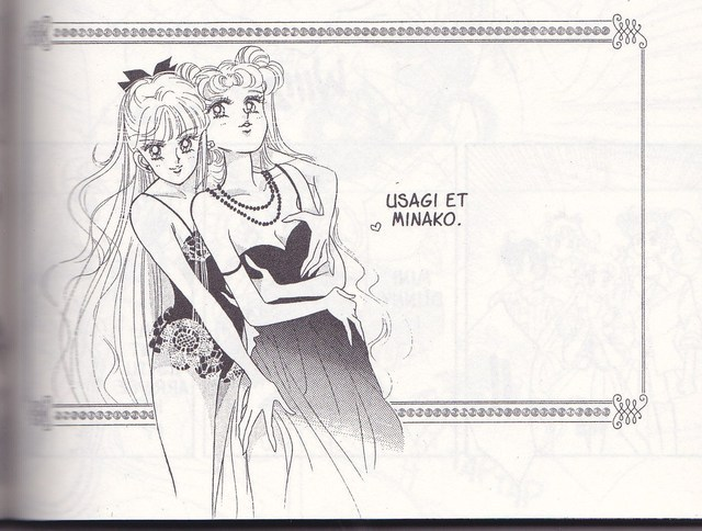 Minako and Usagi in lingerie grabbing each other sexily