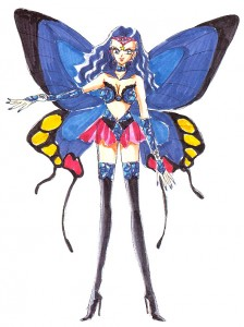 A woman with butterfly wings stands wearing a bra-like top and panties with long black boots