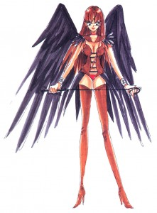 A woman with red hair stands with black bird wings, a revealing bodice, panties and long red boots. And a whip.