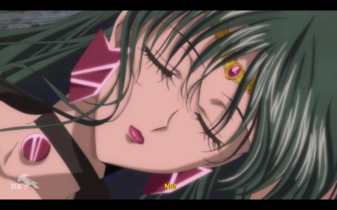 A close up of Sailor Pluto's face, eye closed. She is dead.