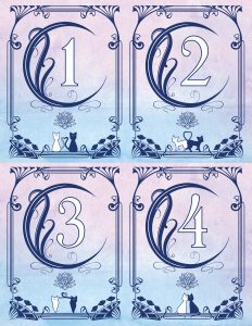 a sheet of four table numbers with a crescent moon, a frame and luna and artemis