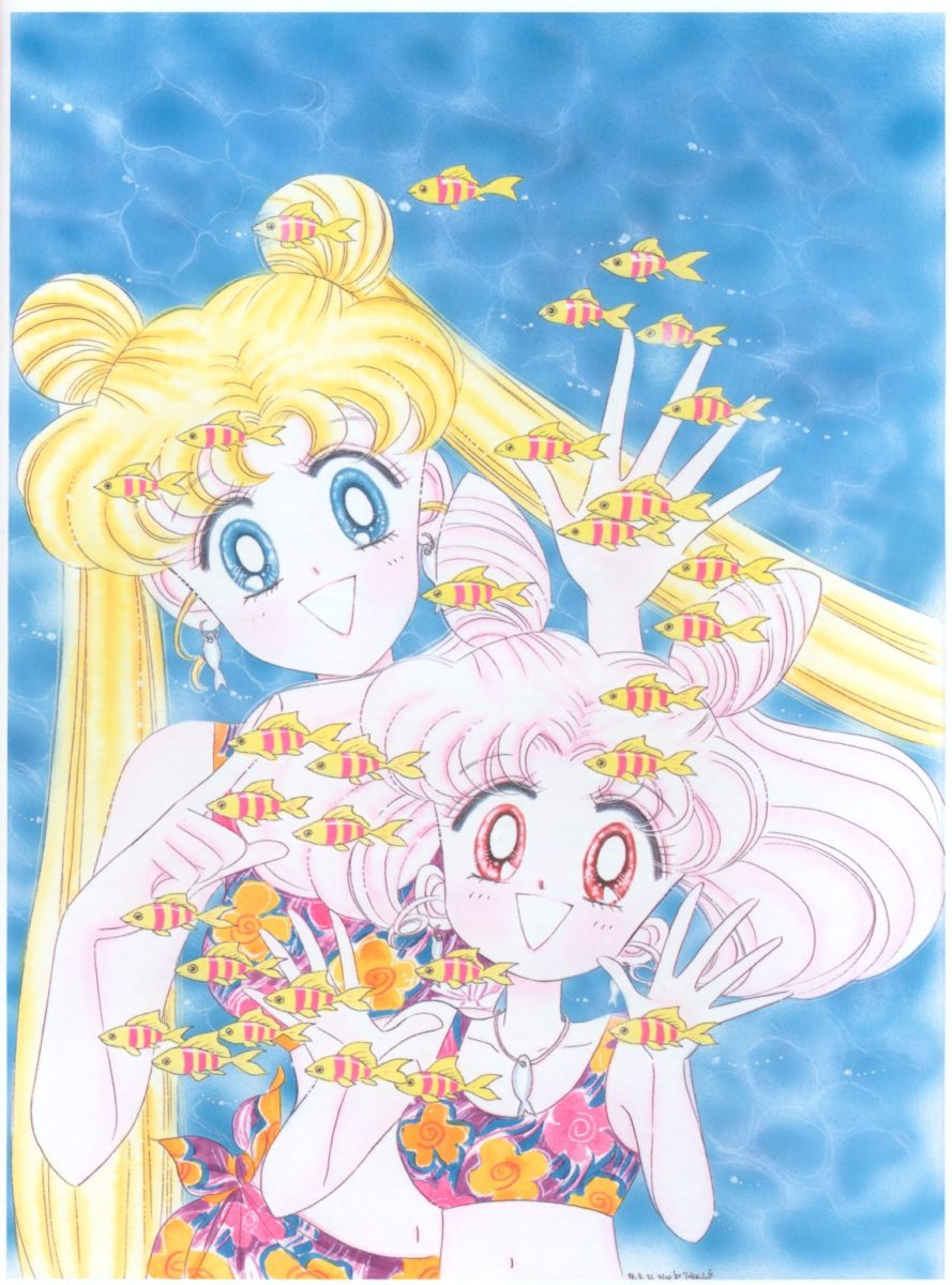 Usagi and Chibiusa are in swimsuits looking at fishes swimming in front of them