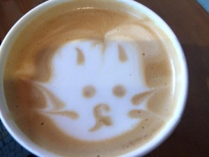 Latte art of a bunny
