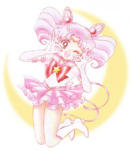 Sailor Chibi Moon jumps with her hands in the ok sign