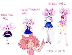 Four pictures of Chibiusa from the Black Moon arc, Infinity/Dream arcs and Stars arc.