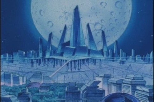 Crystal Tokyo at night with a white moon in the background