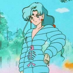A man with long blue hair and wearing a blue bubble suit stands looking disapprovingly