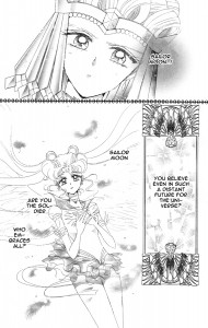 Manga panel from Missdream.org. Sailor Galaxia wonders if Sailor Moon is the soldier who embraces all.