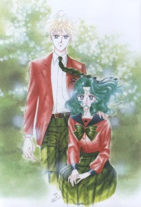 Haruka stands in her male Infinity school uniform and Michiru sits in her Infinity School uniform.