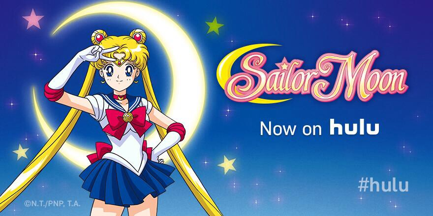 """Sailor Moon stands in front of a moon with the words """"Now on hulu"""""""