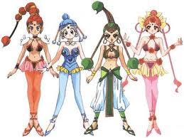 Fours girls stand in revealing outfits
