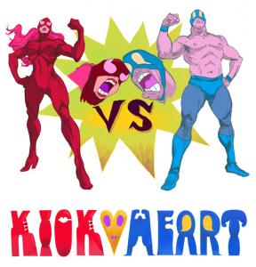 a female wrestler in red stands versus a male wrestler in blue