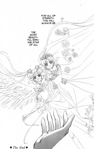 """Eternal Sailor Moon and Bride Usagi stand with the words """"For all of eternity, you will always be the most beautiful, shining star of all."""""""