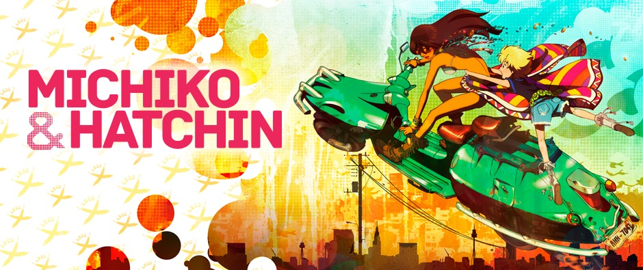 Michiko & Hatchin title with Michiko and Hatchin on a green motorbike, flying through the air
