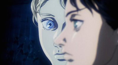 In the foreground is Motoko's profile and in the background is the puppet master's blonde haired, blue eyed face.