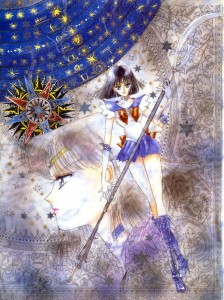 Manga Sailor Saturn stands holding the glaive. Her face appears in the background, looking to the left.