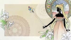 Neo Queen Serenity stands holding the cutie moon rod