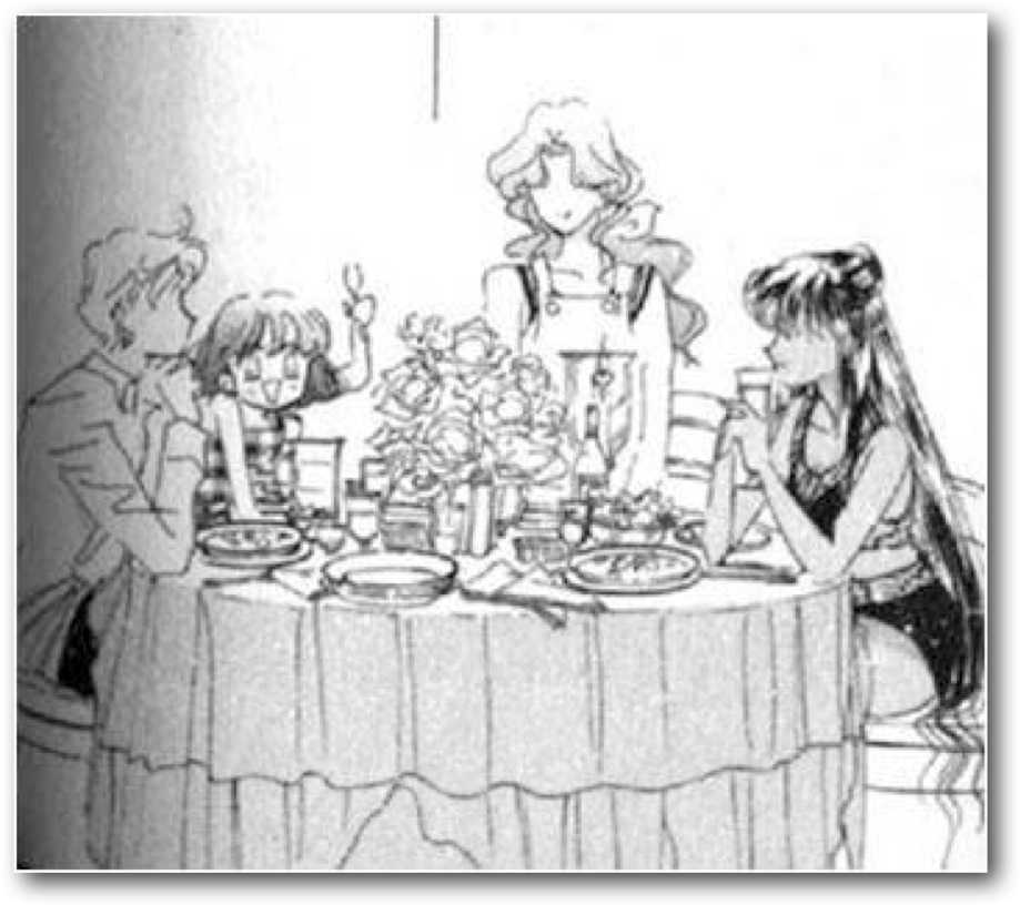 Haruka, Hotaru, Michiru and Setsuna sit around a table, eating a meal.