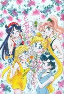 rei, makoto, minako, usagi and ami wear dresses and throw confetti. manga image from mangastyle.net