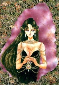 Setsuna stands wearing a black dress with gold chains draped around her aims. She's holding a wine glass.