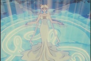 Anime Queen Serenity stands with fairy wings