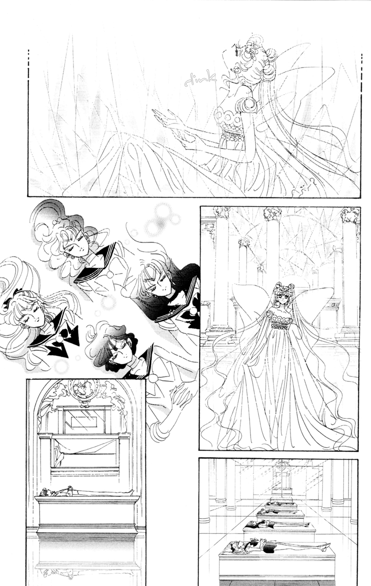 Manga panel of Neo Queen Serenity awakening and the sailor guardians in their uniforms lying unconscious in the palace