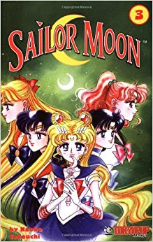 Volume 3 cover of the original volume of sailor moon with the 5 guardians with Sailor Moon holding the moonstick with a crystal clear crescent moon