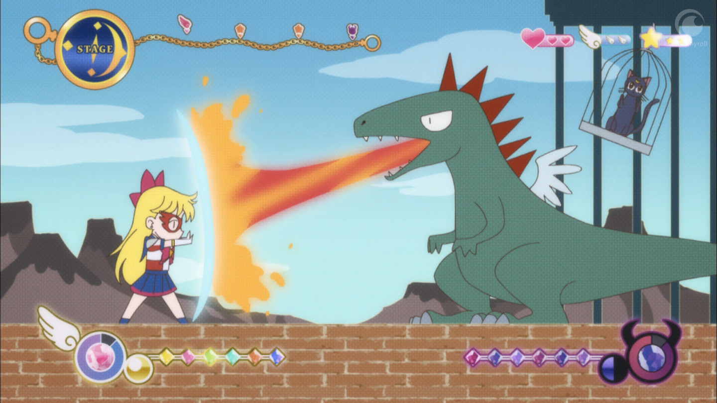 A screenshot of the Sailor V video game. Sailor V blocks fire from a dragon.