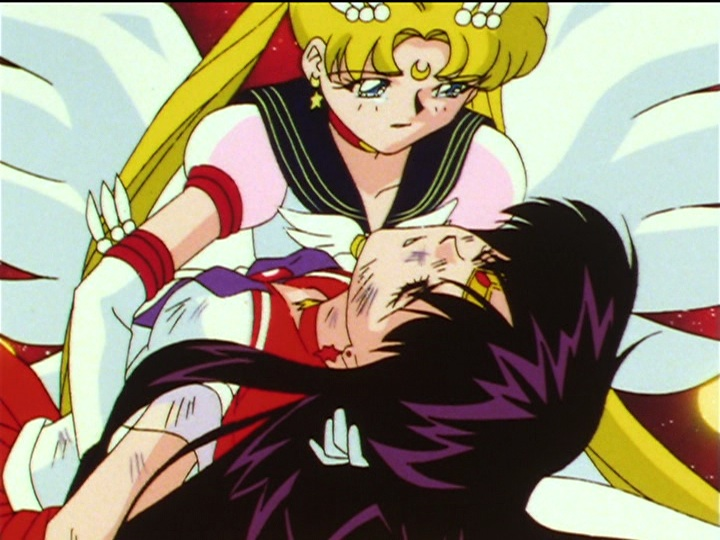 Super Sailor Mars dies in Eternal Sailor Moon's arms