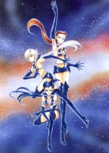 The Sailor Starlights pose before an image of a galaxy