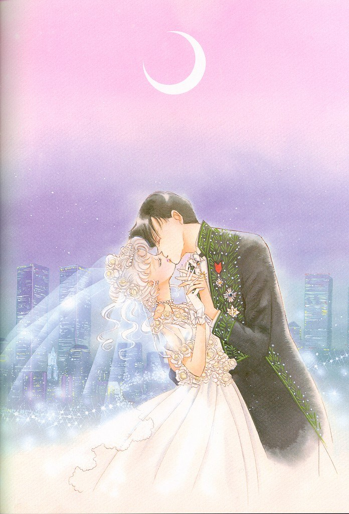 Usagi and Mamoru in bridal attire kissing in front of a backdrop of purple and pink and the tokyo skyline