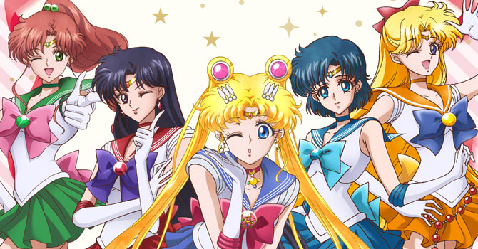 The inner senshi sailor moon crystal stlyle with jupiter, mars, moon winking, mercury and venus