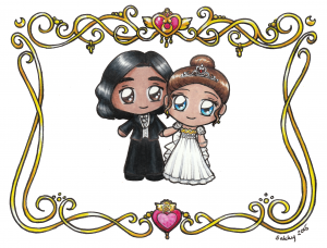 A dude chibi in a tux and a girl chibi dressed as princess serenity stand holding hands with a swirly gold border
