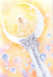 Princess Serenity stands on a column